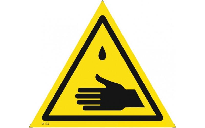 W 21 Осторожно. Возможное попадание ядовитых веществ на кожу рук