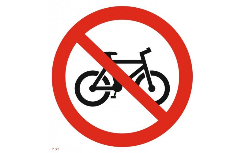 P 57  Вход с велосипедом запрещен. Езда на велосипеде запрещена
